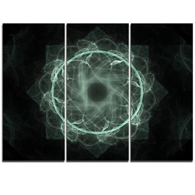 Designart Shiny Light Blue Radial Fractal Flower Art Floral Triptych Canvas Art Print