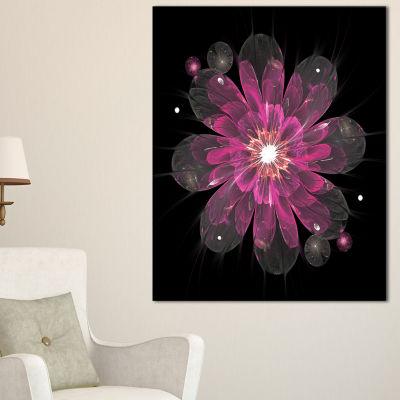 Designart Shiny Light Pink Fractal Flower On BlackFloral Canvas Art Print
