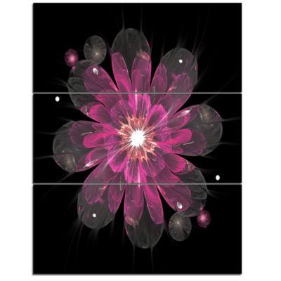 Designart Shiny Light Pink Fractal Flower On BlackFloral Triptych Canvas Art Print