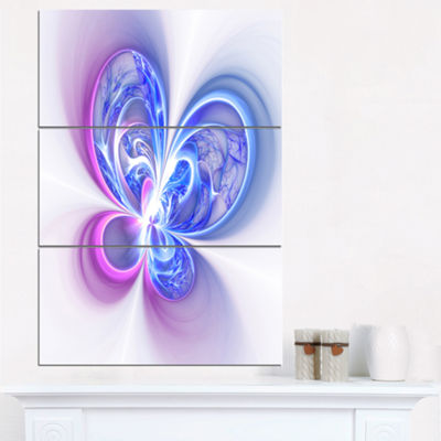 Designart Shiny Purple Blue Digital Fractal FlowerFloral Triptych Canvas Art Print