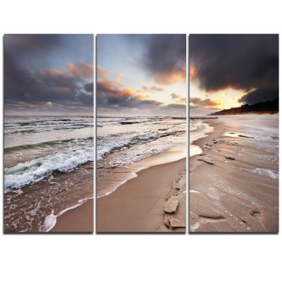 Designart Shore Of Baltic Sea During Winter Seascape Triptych Canvas Art Print
