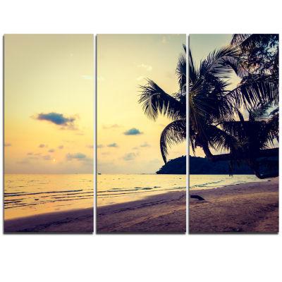Designart Silhouette Coconut Tree Seascape Triptych Canvas Art Print