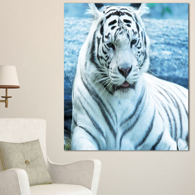 Designart Silver Tiger With Water Background African Canvas Art Print