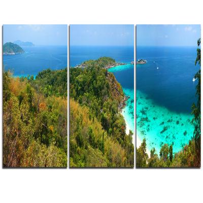 Designart Similan Islands Paradise Bay Modern Seascape Triptych Canvas Artwork