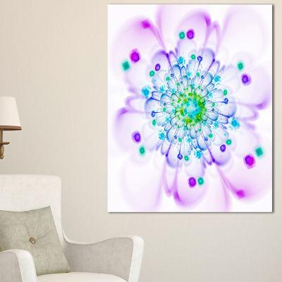 Designart Simple Purple Blue Fractal Flower FloralCanvas Art Print