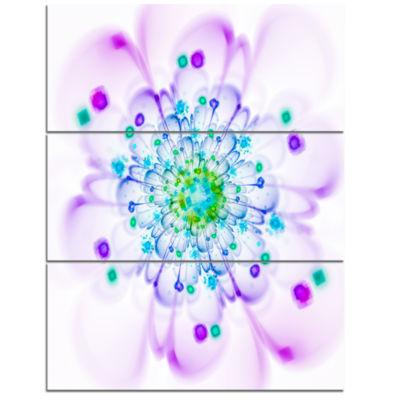 Designart Simple Purple Blue Fractal Flower FloralTriptych Canvas Art Print