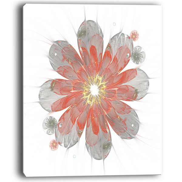 Designart Simple Red And White Fractal Flower Floral Canvas Art Print