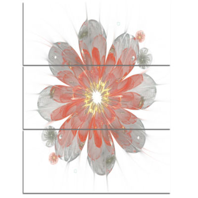 Designart Simple Red And White Fractal Flower Floral Triptych Canvas Art Print