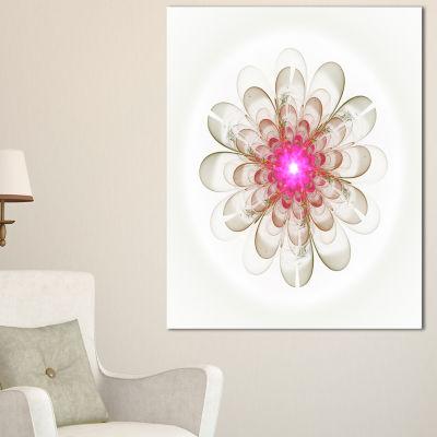 Designart Simple White Pink Fractal Flower Art Floral Canvas Art Print