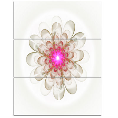 Designart Simple White Pink Fractal Flower Art Floral Triptych Canvas Art Print