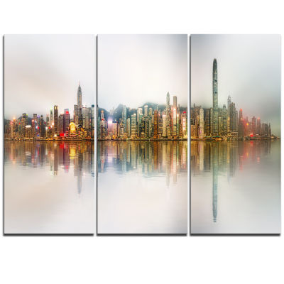 Designart Singapore Financial District Panorama Cityscape Triptych Canvas Print