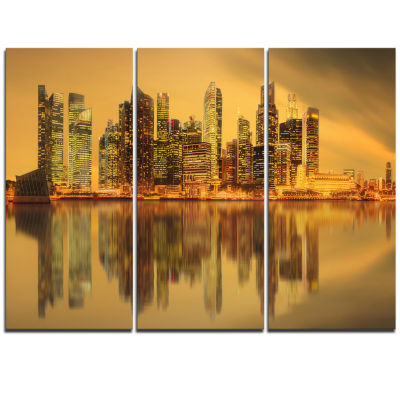 Designart Singapore Marina Bay Skyscrapers Cityscape Triptych Canvas Print