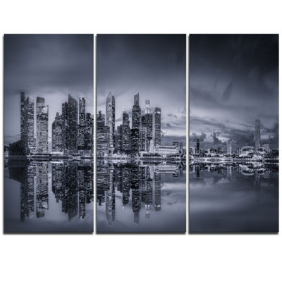 Designart Singapore Skyline And Marina Bay Cityscape Triptych Canvas Print