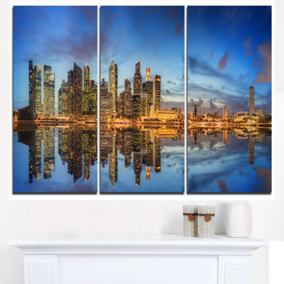 Designart Singapore Skyline And View Of Marina BayCityscape Triptych Canvas Print