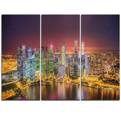 Designart Singapore Skyline View Of Marina Bay Cityscape Triptych Canvas Print