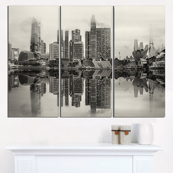 Designart Singapore Skyline View Panorama Cityscape Triptych Canvas Art Print