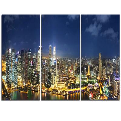 Designart Singapore Skyscrapers Panorama CityscapeTriptych Canvas Print