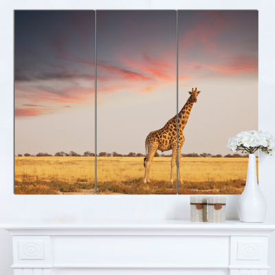Designart Single Giraffe In Savannah African Canvas Art Print - 3 Panels