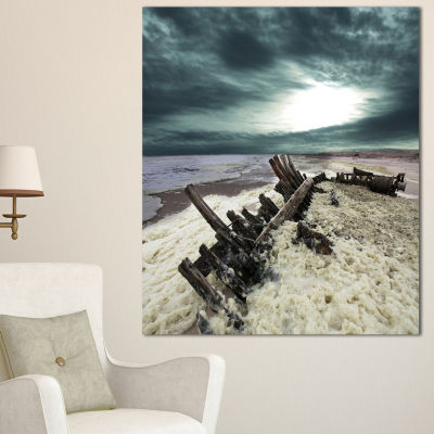Designart Skeleton Coast National Park Landscape Canvas Art Print - 3 Panels