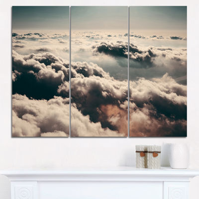 Designart Sky Above Dark Heavy Clouds ContemporaryLandscape Triptych Canvas Art