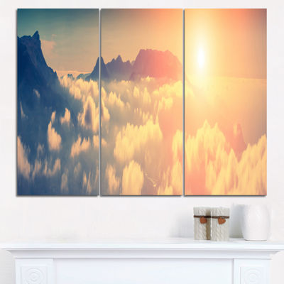 Designart Sky Above Floating Clouds Contemporary Landscape Triptych Canvas Art