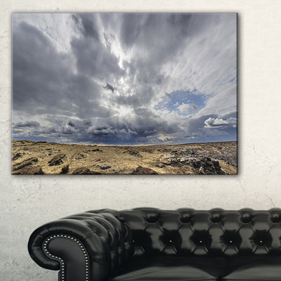 Designart Sky And Stones Under Dark Clouds Landscape Artwork Canvas