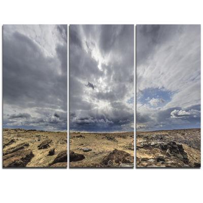 Designart Sky And Stones Under Dark Clouds Landscape Artwork Triptych Canvas