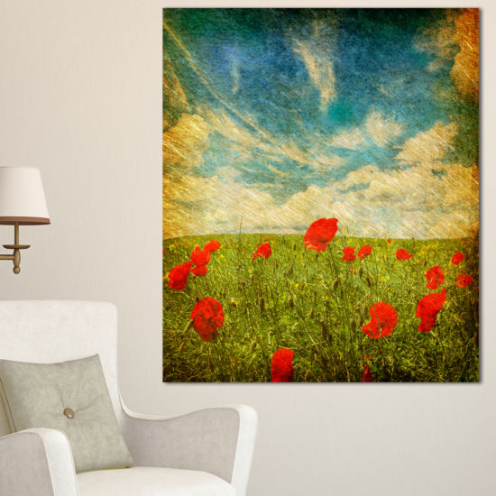 Designart Sky Background With Red Poppies Floral Canvas Art Print