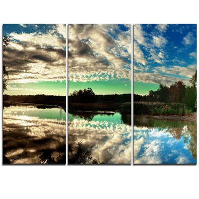 Designart Sky Clouds Mirrored In River Panorama Landscape Triptych Canvas Art Print