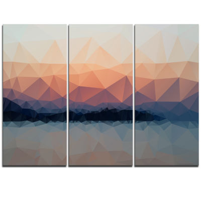 Designart Sky Sea And Beach Abstract Vector View Extra Large Seascape Art Triptych Canvas