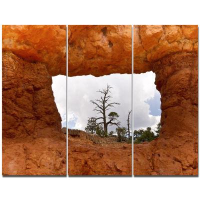 Designart Sky Through Red Canyon Window Contemporary Landscape Triptych Canvas Art