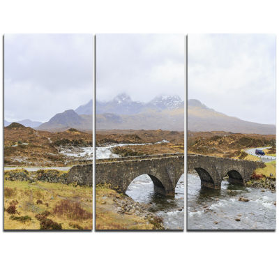 Designart Sligachan Old Bridge Panorama LandscapeArtwork Triptych Canvas