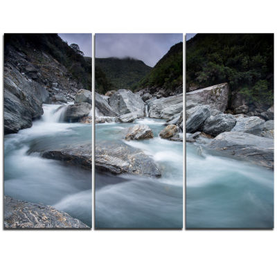 Designart Slow Motion Mountain River And Rocks Landscape Triptych Canvas Art Print