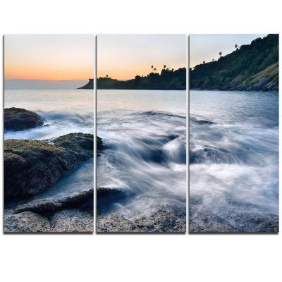 Design Art Slow Motion Sea Waves Over Rocks ModernSeascape Triptych Canvas Artwork