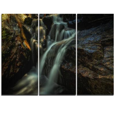 Designart Slow Motion Waterfall In Summer Landscape Triptych Canvas Art Print