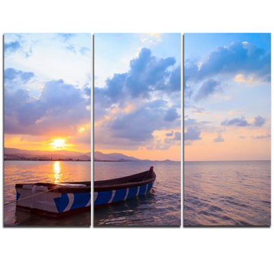Designart Small Fishermen Boat At Sunset Modern Seashore Triptych Canvas Art