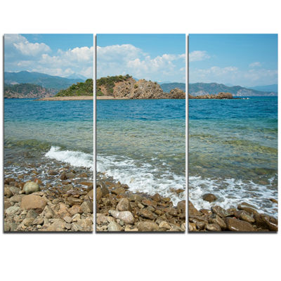 Designart Small Isle Turkey Panorama Extra Large Seashore Triptych Canvas Art