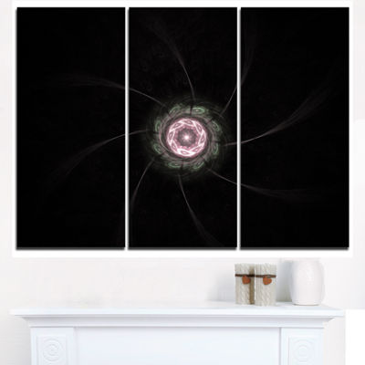 Designart Small Radial Fractal Flower In Light Purple Floral Triptych Canvas Art Print