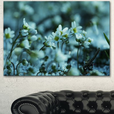 Designart Small White Flowers On Blue BackgroundFloral Canvas Art Print - 3 Panels