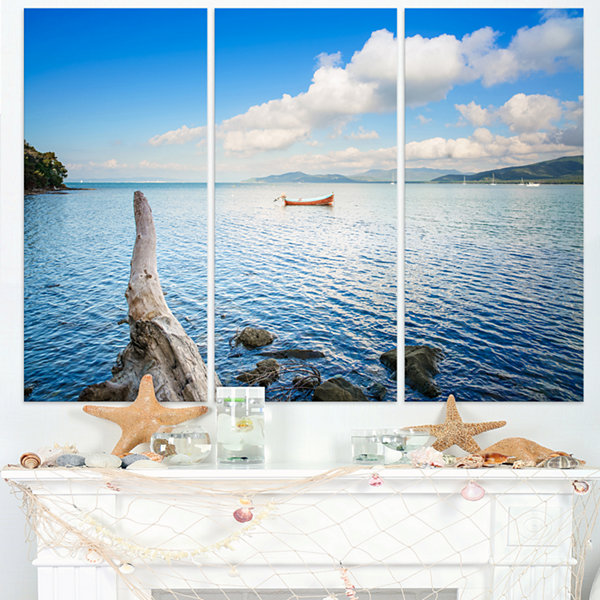 Designart Small Wooden Boat And Tree Trunk Extra Large Seashore Triptych Canvas Art