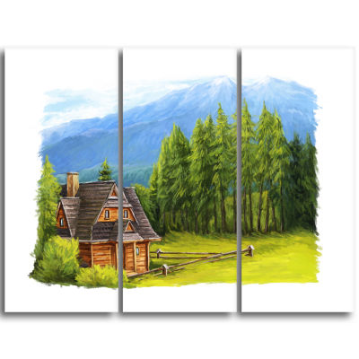 Designart Small Wooden Home In Mountains LandscapeTriptych Canvas Art Print