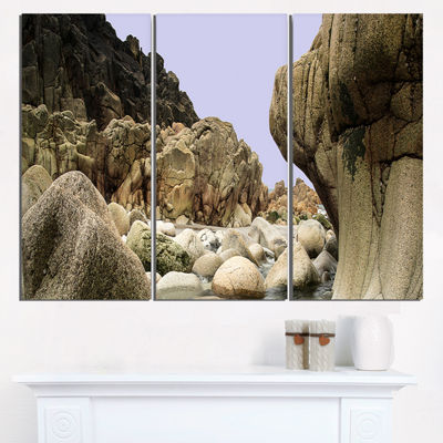 Designart Smooth Rocks In Coastline Panorama Landscape Triptych Canvas Art Print