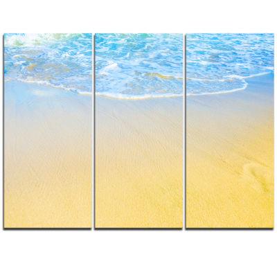 Designart Smooth Sea Surf Over Blue Waters Seashore Triptych Canvas Art Print