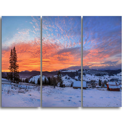 Designart Snowy Colorful Dawn In Mountains Landscape Triptych Canvas Art Print