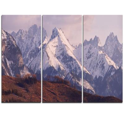 Designart Snowy Tatra Mountains In Spring Landscape Triptych Canvas Art Print