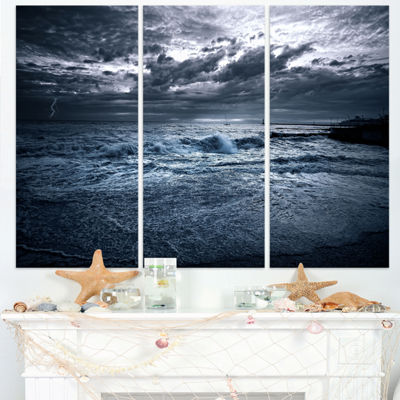 Designart Sochi Sea Storm In Blue Modern LandscapeWall Art Triptych Canvas