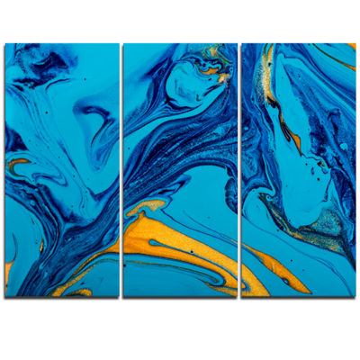 Designart Soft Blue Abstract Acrylic Paint Mix Abstract Art On Triptych Canvas