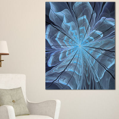 Designart Soft Blue Fractal Flower With Large Petals Floral Canvas Art Print