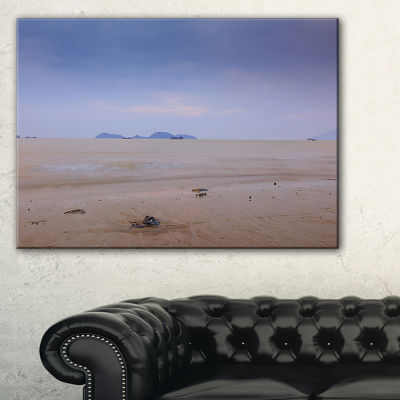 Designart Soft Blue Sunset At Lung Kwu Tan Beach Landscape Artwork Canvas