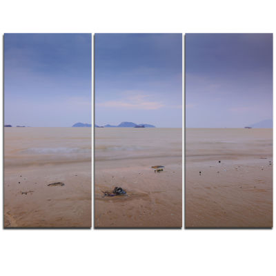 Designart Soft Blue Sunset At Lung Kwu Tan Beach Landscape Artwork Triptych Canvas